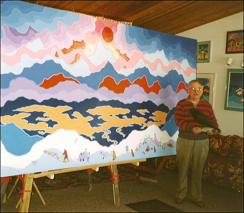 A photograph of Ted Harrison in his studio in 1993