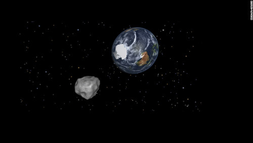 A computer-generated image of an asteroid close to Earth