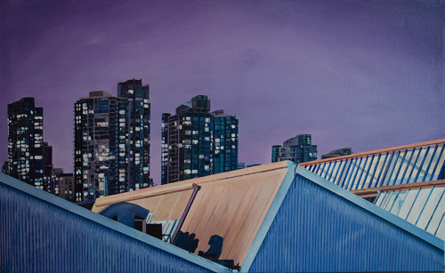 A painting of a rooftop with a city skyline in the background