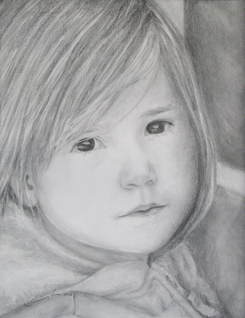 A graphite portrait of a toddler