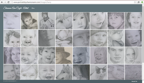 A screen capture of Shannon Coyle's art website