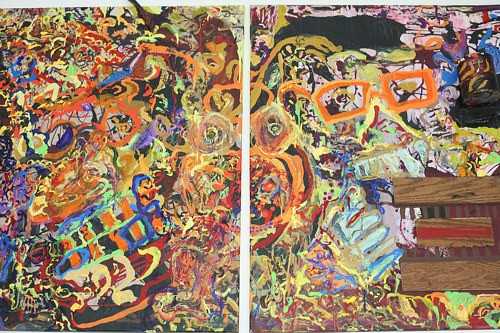 An abstract diptych painted with bright colours and narrow brush marks