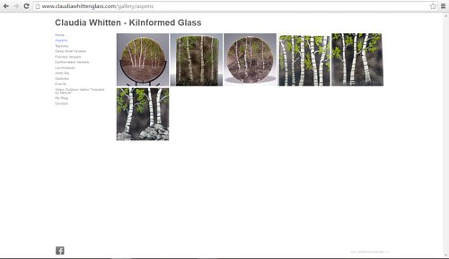 A screen capture of a gallery on Claudia Whitten's website