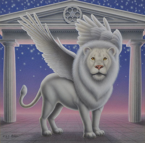 An airbrush painting of a winged white lion