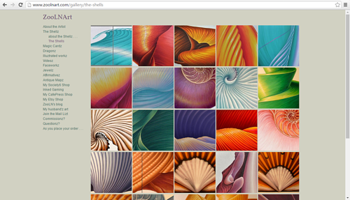A screen capture of a gallery of paintings on Sue Ellen Brown's website