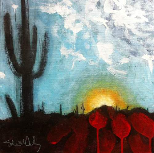 A painting of an Arizona sunset