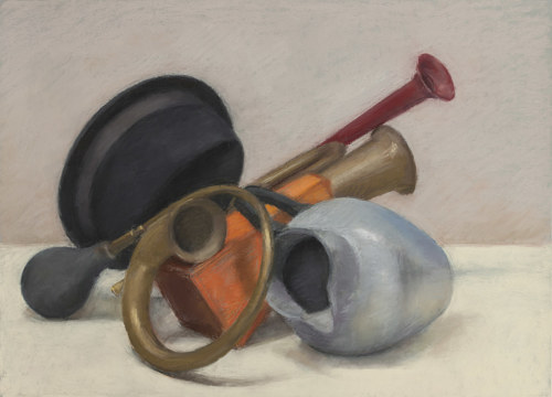 A still life drawing of several objects in pastel