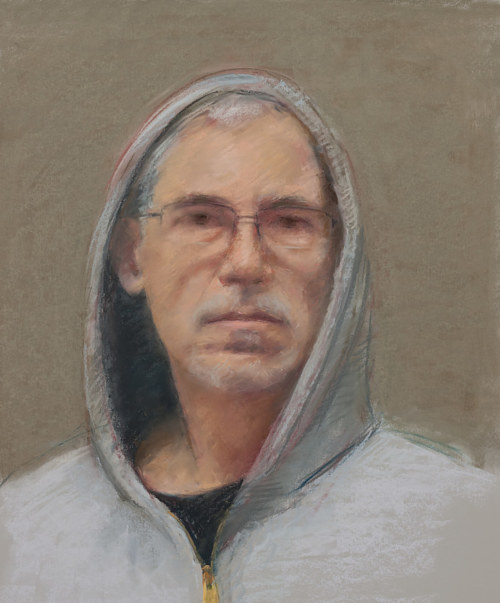 A self-portrait drawing by Michael Mahoney