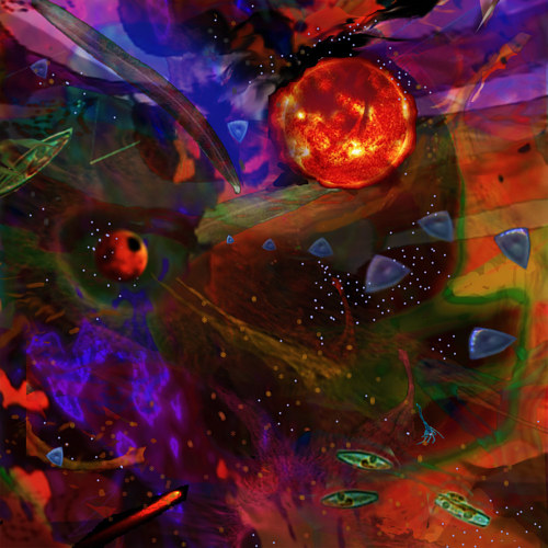 An abstract digital artwork with forms that reference astronomy
