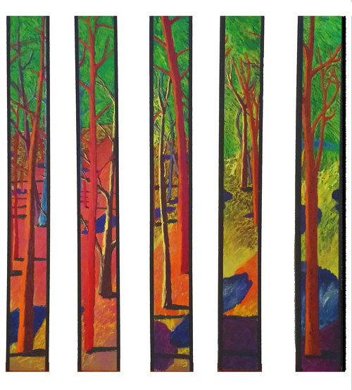 A series of elongated paintings of trees