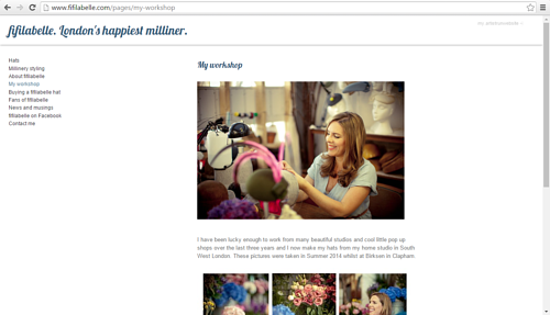 A screen capture of the Fifilabelle millinery website