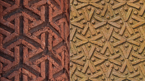 A photo of two patterns on Iranian tomb towers