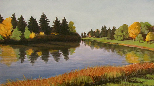 A painting of a small lake with orange and yellow tones