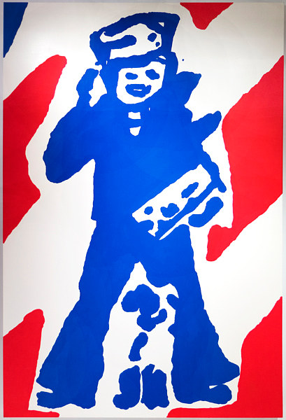 A loose painting of the Cracker Jack mascot