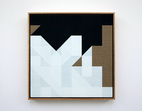 A geometric abstract painting of a chess match