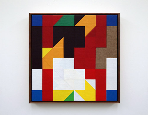 A coloured geometric painting referencing a chess match