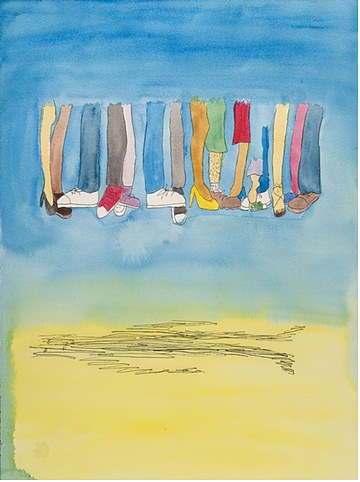 A tempera painting of disembodied legs dancing in the air