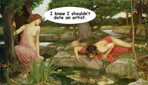An internet meme commenting on the narcissism of artists