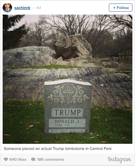 An Instagram photo of Trump's tombstone