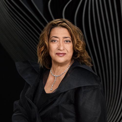 A photograph of the late architect Zaha Hadid