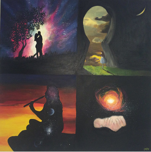 A painting divided into four quadrants, each featuring a silhouetted image