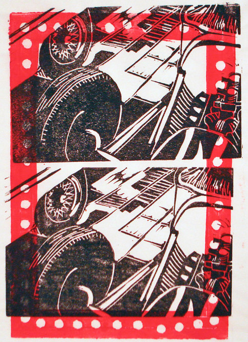 A linocut print of an automobile part