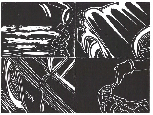 A black and white linocut print of car parts