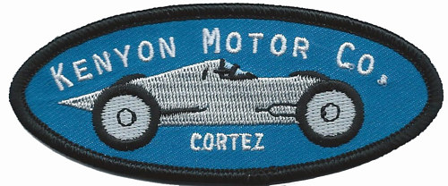 An embroidered patch featured the Kenyon Motor Company logo