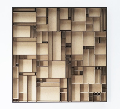 An artwork composed of small MDF boxes