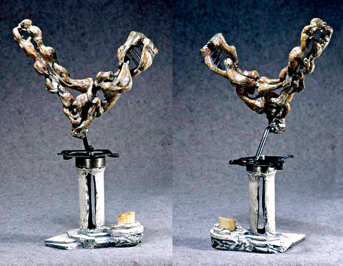 A photo of an abstract sculpture made from mixed media
