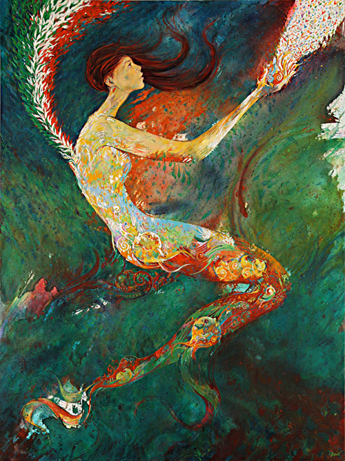 A painting of a woman floating in an abstract background