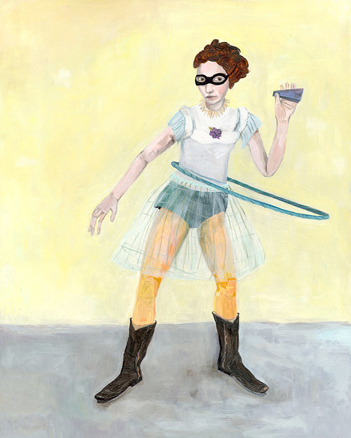 An oil painting of a masked girl hula hooping