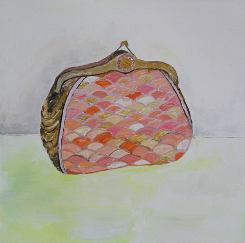 An oil painting of a clutch purse
