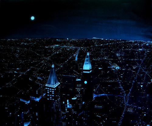 A painting of a night city view from the 86th floor