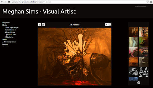 A screen capture of Meghan Sim's online painting portfolio