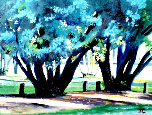 A painting of green trees