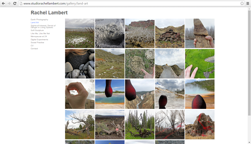A screen capture of Rachel Lambert's land art portfolio