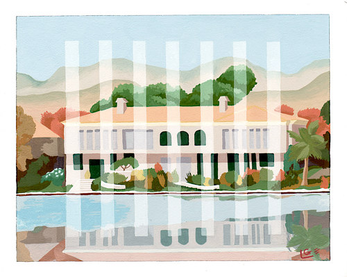 A painting of a house in the Westlake Village area of Los Angeles County