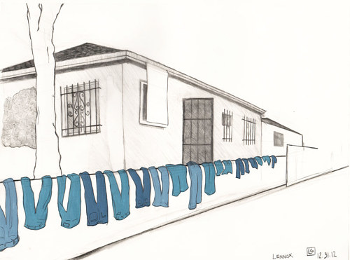 A drawing of a house in the Lennox neighbourhood of Los Angeles County