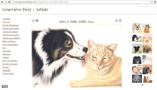 A screen capture of a gallery on Genevieve Desy's art website