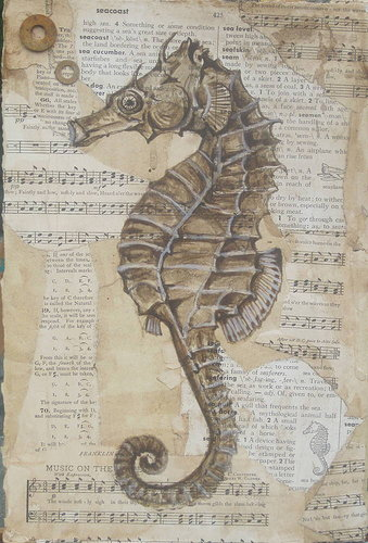 Sea horse drawing on music paper