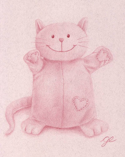 A drawing of a plush cat in pink
