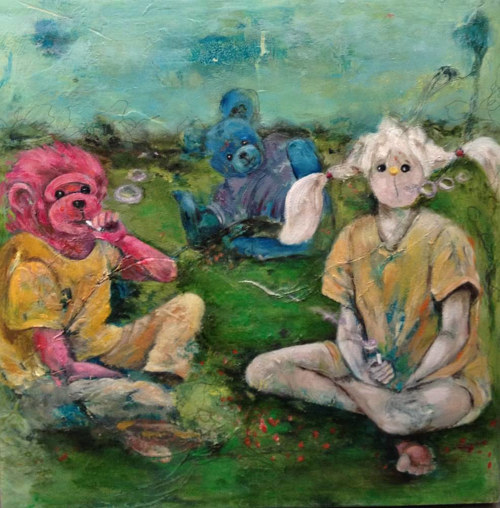 A painting of three childlike figures with stuffed animal faces