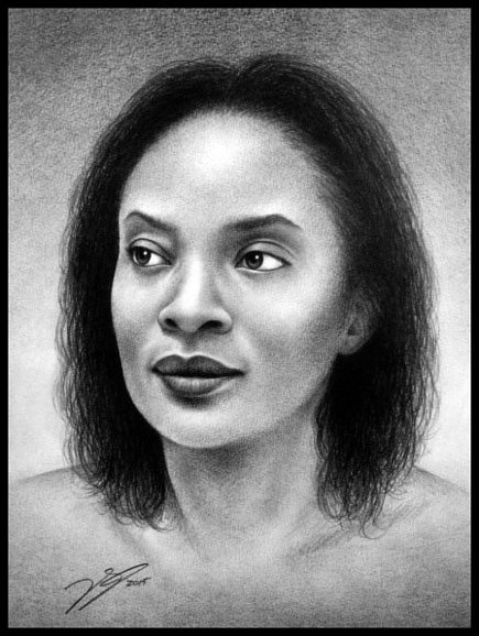 A black and white pencil portrait of a young woman