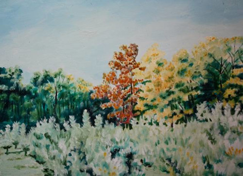 An oil painting of autumnal trees
