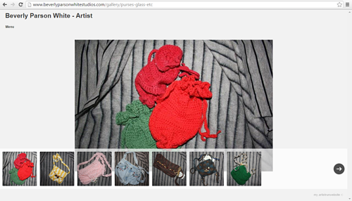 A screen capture of Beverly Parson White's art website