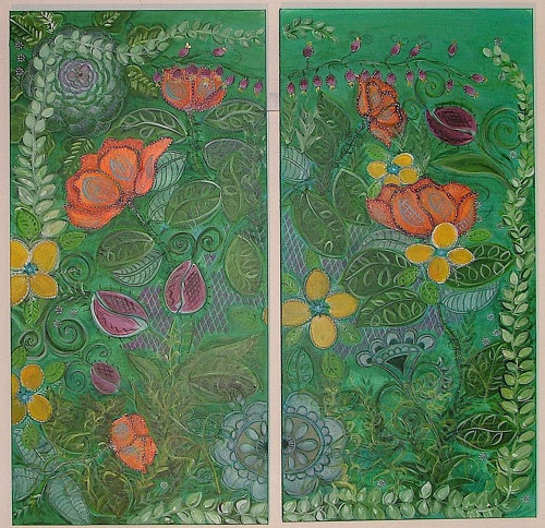 A diptych featuring floral forms patterned over a green background