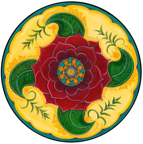A painting of a symmetrical flower for meditation