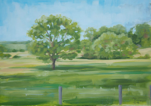 A loose painting of a lone tree in a fenced-off meadow