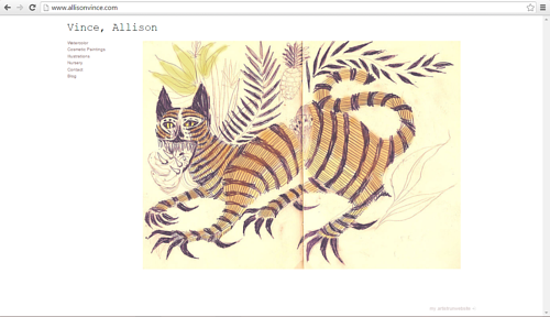 A screen capture of Allison Vince's art website